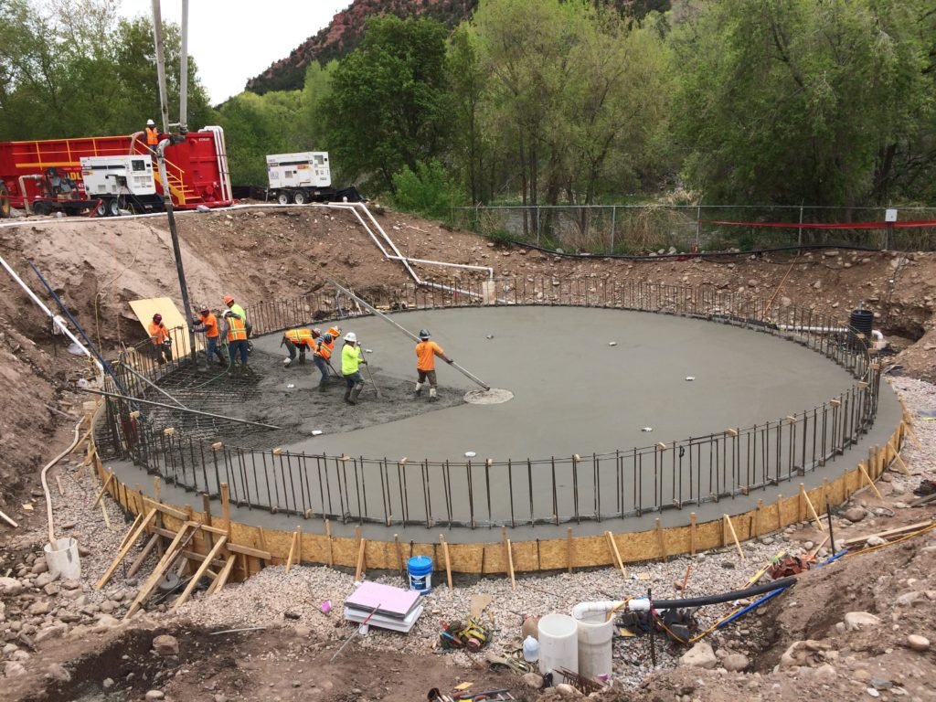 Crews work on the Carbondale Clarifier in Carbondale, CO